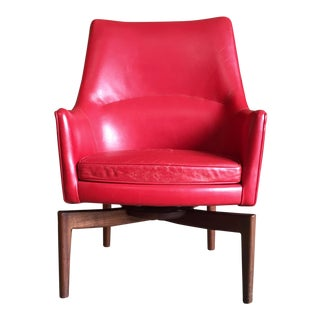 Jens Risom High Back Leather Swivel Lounge Chair For Sale