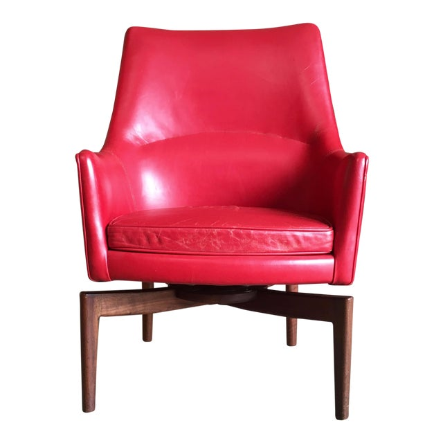 Terrific Jens Risom High Back Leather Swivel Lounge Chair Ibusinesslaw Wood Chair Design Ideas Ibusinesslaworg