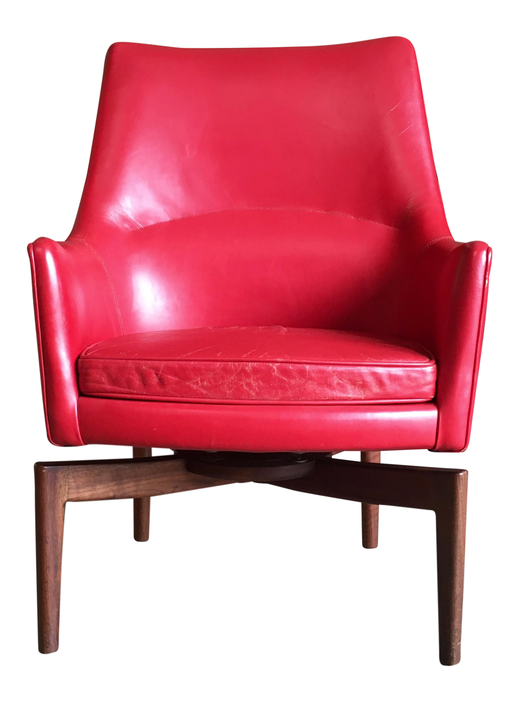 Jens Risom High Back Leather Swivel Lounge Chair