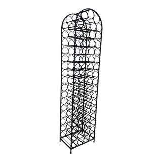 Vintage Arthur Umanoff Wrought Iron Standing Wine Rack For Sale
