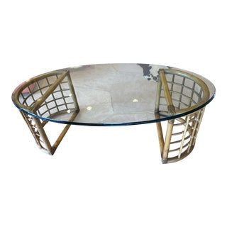 1970s Mid Century Modern Rattan Bamboo and Glass Coffee Table For Sale
