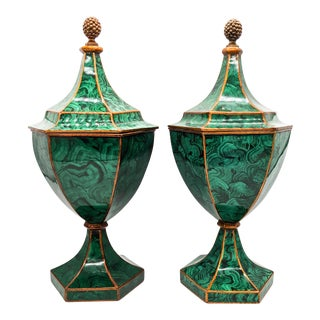 Large 1980's Maitland Smith Tole Faux Malachite Urn Vases - a Pair For Sale