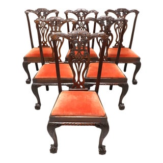Antique 19th Century Mahogany English Chippendale Dining Chairs - Set of 6 For Sale