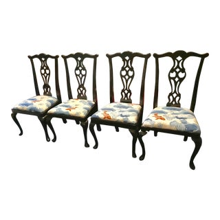 Black Vintage Chippendale Style Side Chair For Sale