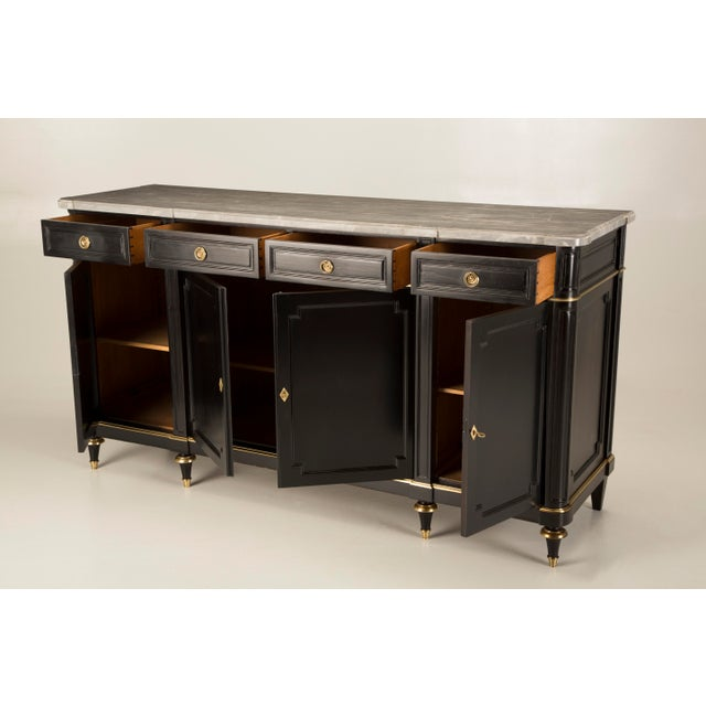 Louis XVI Vintage French Louis XVI Style Buffet in an Ebonized Mahogany For Sale - Image 3 of 12