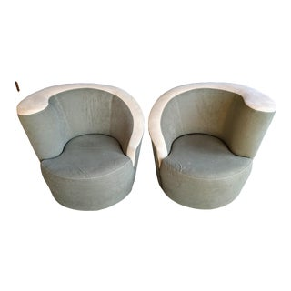 Vladimir Kagan Nautilus Swivel Chairs, a Pair For Sale