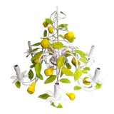 Image of Italian Palm Beach Regency Handpainted Tole Lemon Leaf Fruit 6 Light Ceiling Chandelier For Sale