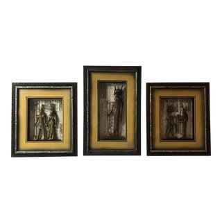 Égyptien Framed Carved Wood Decor - Set of 3 For Sale