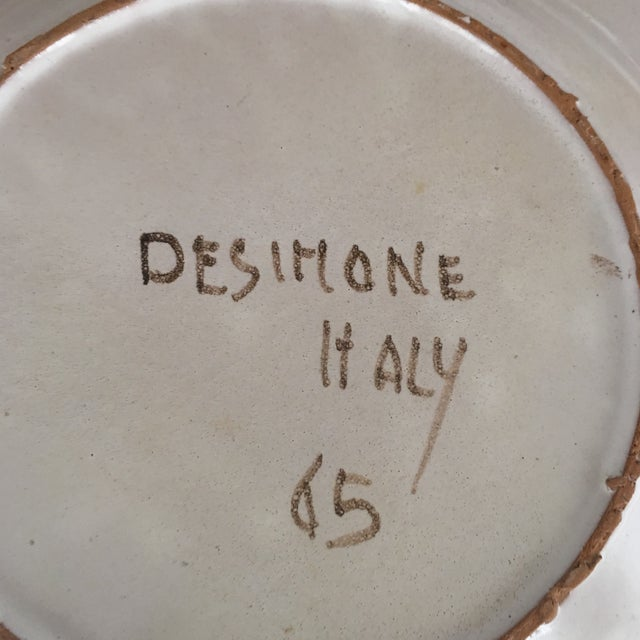 """DeSimone Mi- Century 10 """" Pottery Charger For Sale - Image 10 of 10"""