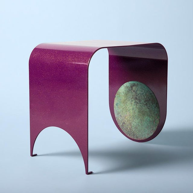 Contemporary Contemporary Powdered-Coated Steel With a Brass Patina Inlay Thin Stool For Sale - Image 3 of 5