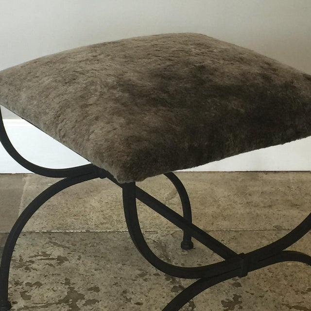2010s Contemporary Design Frères Gray Shearling 'Strapontin' Stools - a Pair For Sale - Image 5 of 8