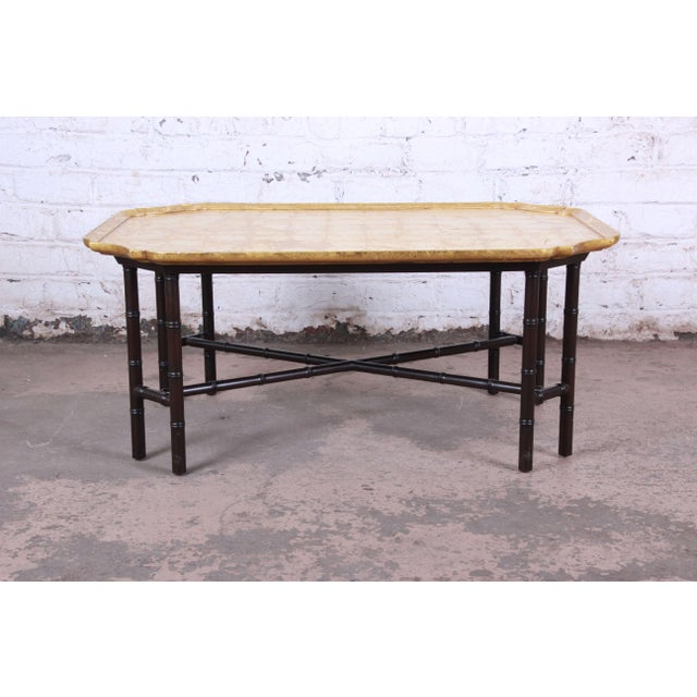 Hollywood Regency Kittinger Hollywood Regency Faux Bamboo Gold Leaf Cocktail Table For Sale - Image 3 of 11