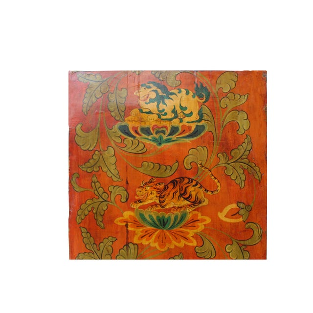 2000 - 2009 Chinese Tibetan Vintage Elephant Tiger Animal Graphic Wood Wall Panel For Sale - Image 5 of 9