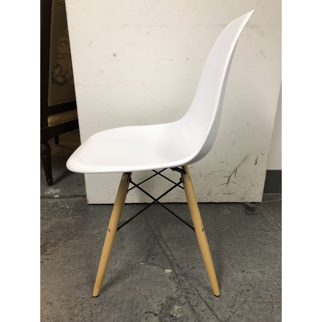 Maple Eames Style White Molded Eiffel Chairs - Set of Six For Sale - Image 7 of 10