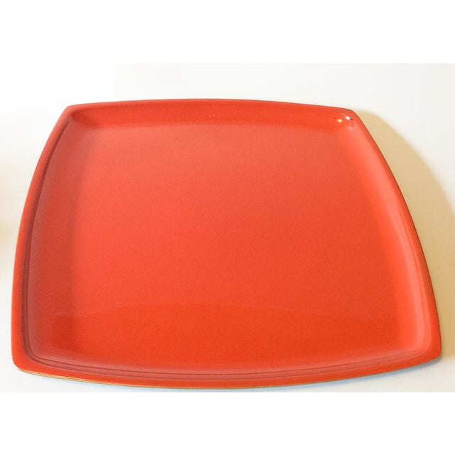 MCM Bright Orange Lacquer Serving Tray - Image 2 of 3