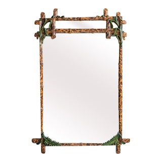 Hollywood Regency Unique Faux Bamboo and Faux Tortoise Painted Mirror For Sale