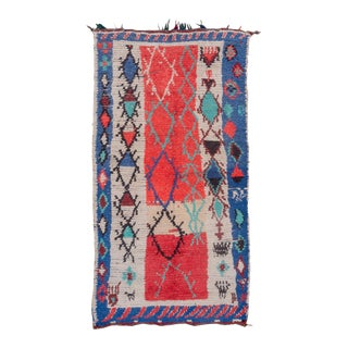 """Vintage Tribal Moroccan Red Rug-3'8'x6'7"""" For Sale"""