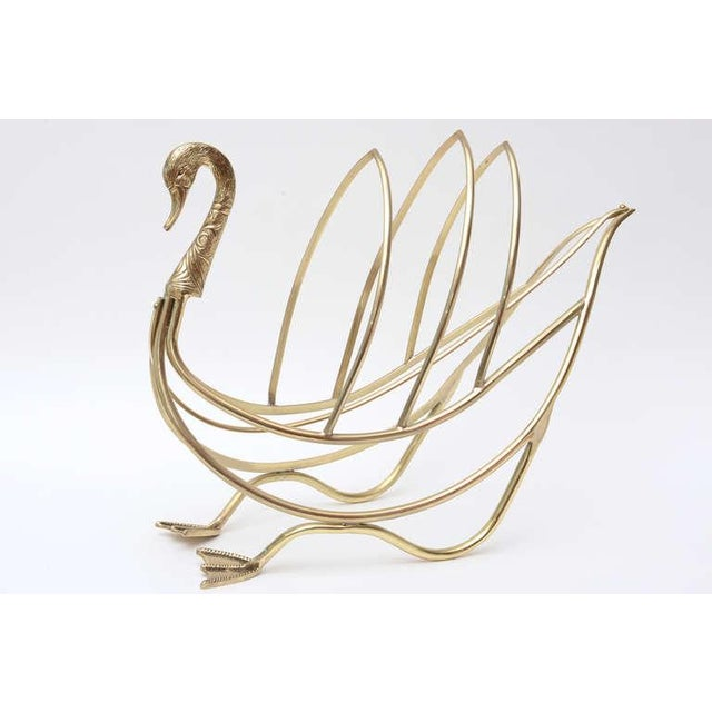 Maison Jansen Polished Brass Magazine or Book Stand or Holder - Image 3 of 10