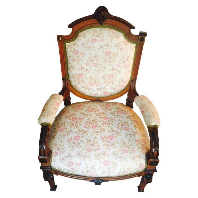 Antique Reupholstered French Armchair - Image 1 of 8