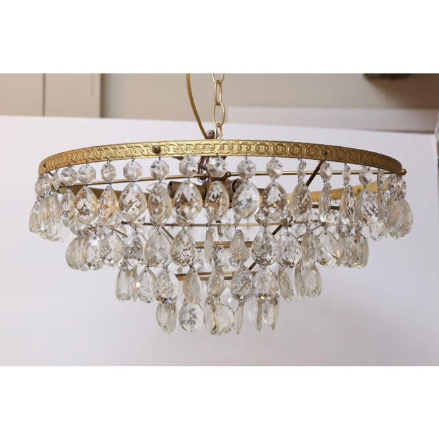 Gilt Brass and Crystal Chandelier by Palwa For Sale - Image 12 of 12