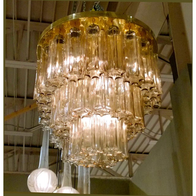 Glashütte Limburg Mid Century Modern Limburg Murano Clear Glass & Brass Flush Mount Light For Sale - Image 4 of 7