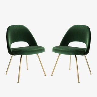 Original Saarinen Executive Armless Chairs in Emerald Velvet, Custom 24k Gold Edition - Set of 6 Preview