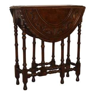 19th Century English Carved Gateleg Table For Sale