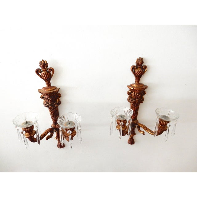 French Wood Candle Holder Sconces - Pair - Image 9 of 11