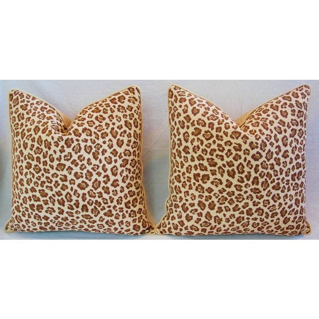 "Early 21st Century Leopard Safari Velvet Feather/Down Pillows 24"" Square - Pair For Sale - Image 5 of 9"