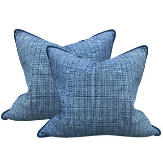 Pair of Vintage Chinese Plaid Cotton Pillows For Sale
