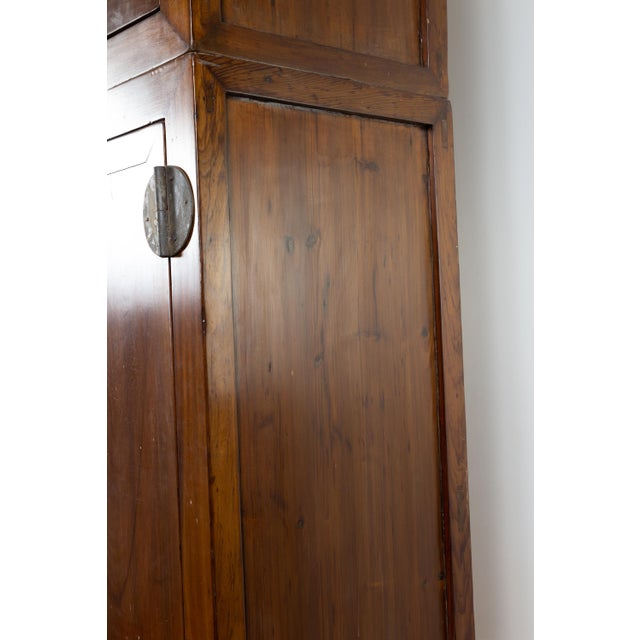 Brown Vintage Chinese Elm Compound Wedding Wardrobe in Two Parts With Metal Hinges For Sale - Image 8 of 13