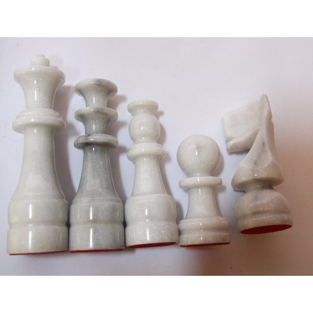 Vintage Marble Chess Board With Hand Carved Black and White Onyx Chess Pieces For Sale - Image 4 of 13