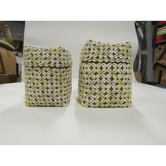 White Shell Storage Baskets With Lids From Hawaii - A Pair For Sale - Image 8 of 8