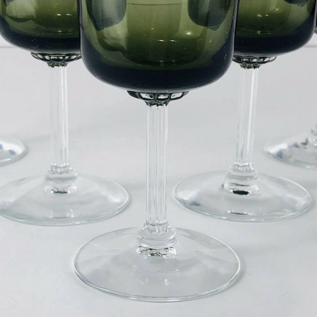 Art Nouveau Mid 20th Century Vintage Fostoria Glamour Green Tulip Wine Water Stems - Set of 5 For Sale - Image 3 of 6