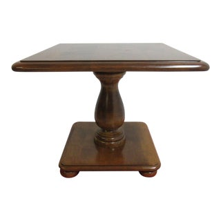Ethan Allen Nutmeg Heirloom Pedestal Lamp End Table
