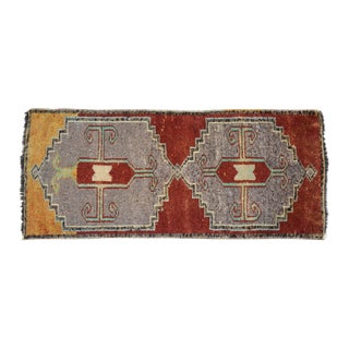 Distressed Low Pile Kurdish Medallion Yastik Rug Faded Colors Vintage Petite Rug - 19'' X 43'' For Sale