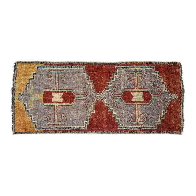 Distressed Low Pile Kurdish Medallion Yastik Rug Faded Colors Vintage Petite Rug - 19'' X 43'' For Sale