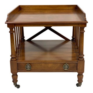 Vintage Mahogany Campaign Side Table on Casters For Sale