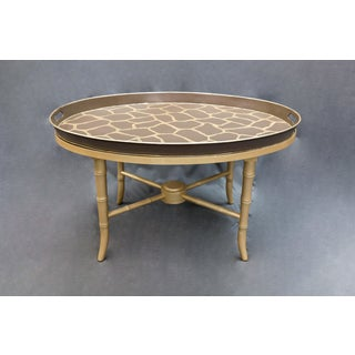 Vintage Asian Beige Tray Table With Faux Bamboo Legs Preview