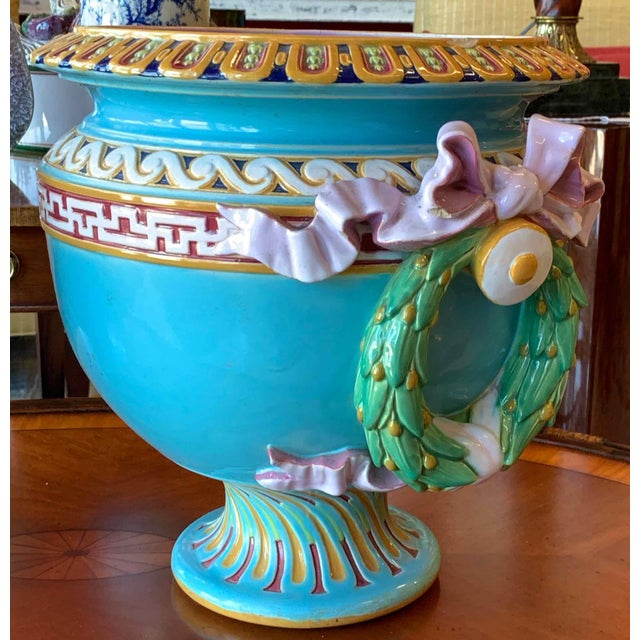 Neoclassical Revival Antique Minton Majolica Urns - a Pair For Sale - Image 3 of 13