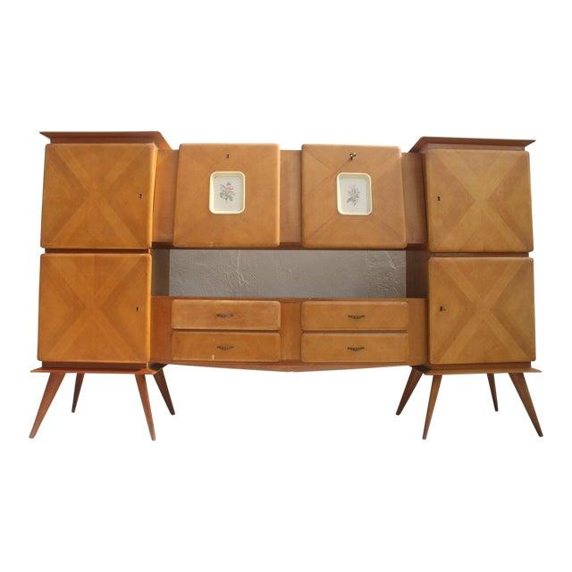 Piero Fornasetti Style Italian 1950's Oak Bar Credenza For Sale
