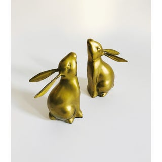 Vintage Brass Rabbit Bookends Preview
