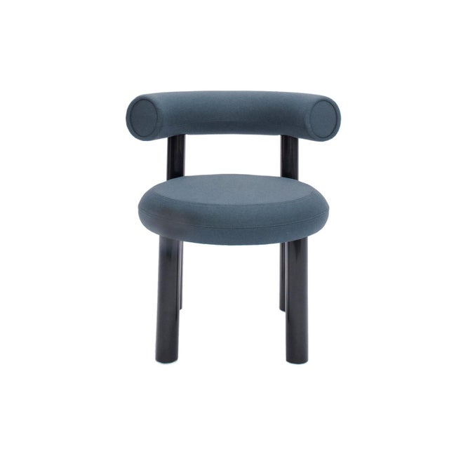 Metal Tom Dixon Blue Gray Upholstery With Metal Gloss Lacquer Leg Dining Chair For Sale - Image 7 of 7