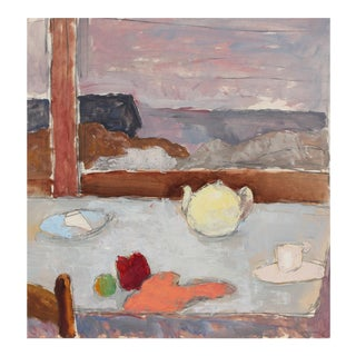 Window Sill With Tea Pot, Still Life in Oil, 1970s For Sale