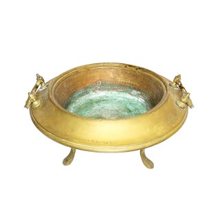 Antique Hand Made Copper and Brass Brazier For Sale