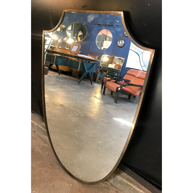 Brass Frame Italian Shield Mirror, 1950s For Sale - Image 4 of 9