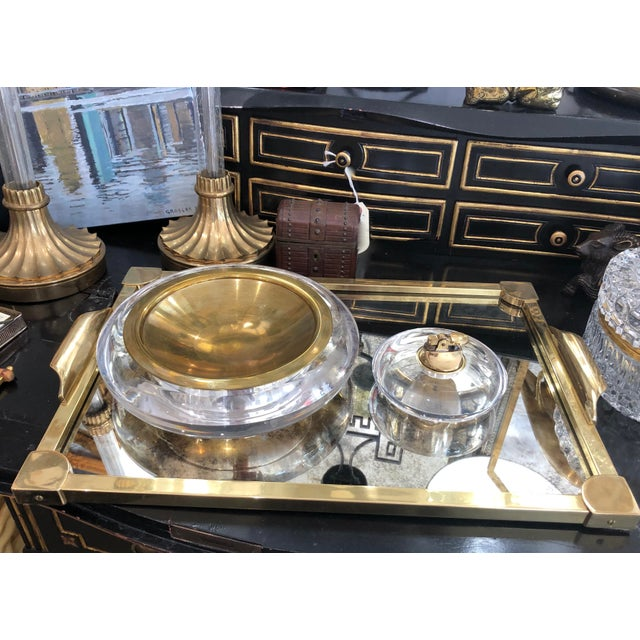 1980s Mid-Century Set of Lucite & Brass Catchall & Lighter For Sale - Image 5 of 13