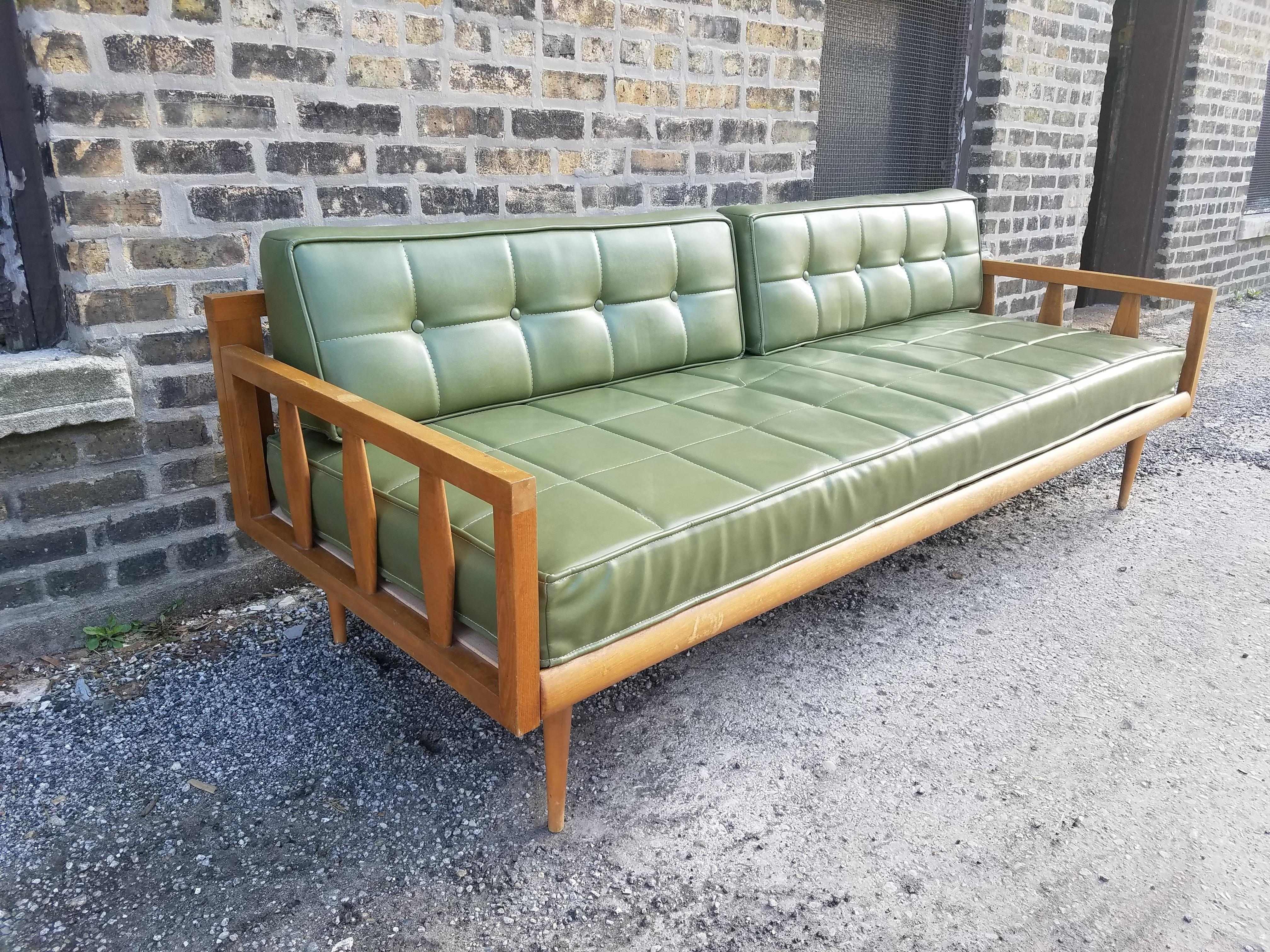 Exceptional Vintage Green Vinyl Mid Century Couch / Daybed   Image 3 Of 8
