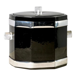 Georges Briard Patent Leather and Lucite Ice Bucket For Sale