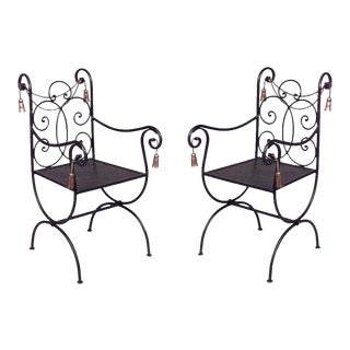Rope and Tassel Iron Arm Chairs For Sale